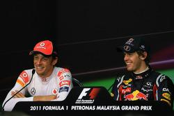 Post-race press conference: race winner Sebastian Vettel, Red Bull Racing, second place Jenson Butto