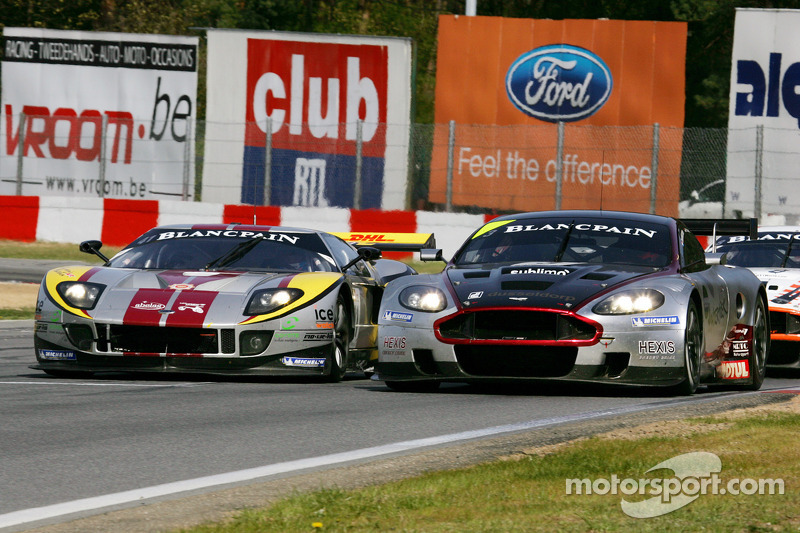 #4 Andrea Piccini, Christian Hohenadel; Aston Martin DB9; Hexis AMR; Left-#41 Maxime Martin, Frederic Makowiecki; Ford GT Matech; Marc VDS Racing Team