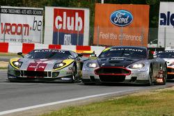 #4 Andrea Piccini, Christian Hohenadel; Aston Martin DB9; Hexis AMR; Left-#41 Maxime Martin, Frederic Makowiecki; Ford GT Matech; Marc VDS Racing Team