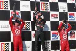 Podium: winner Will Power, Team Penske, second place Scott Dixon, Chip Ganassi Racing, third place D