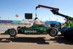 Wrecked car of E.J. Viso, KV Racing Technology-Lotus