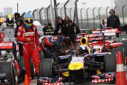 Fernando Alonso, Scuderia Ferrari and pole winner Sebastian Vettel, Red Bull Racing