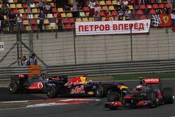 Sebastian Vettel, Red Bull Racing and Lewis Hamilton, McLaren Mercedes and Jenson Button, McLaren Me