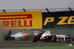 Sergio Perez, Sauber F1 Team en Adrian Sutil, Force India