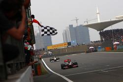 Lewis Hamilton, McLaren Mercedes takes the checkered flag