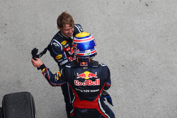 Second place Sebastian Vettel, Red Bull Racing and third place Mark Webber, Red Bull Racing