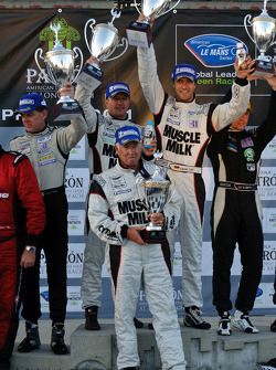 LMP podium: class and overall winners Klaus Graf and Lucas Luhr with team owner Greg Pickett