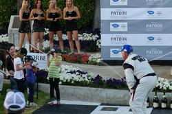 LMP podium: Greg Pickett sprays the grandkids with champagne