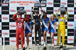 Race winner Mike Conway, second place Dario Franchitti, third place Ryan Briscoe, and the top three