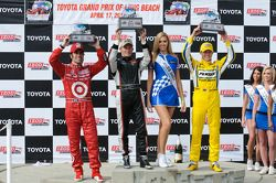 Race winner Mike Conway, second place Dario Franchitti, third place Ryan Briscoe, and Miss Indy Aust
