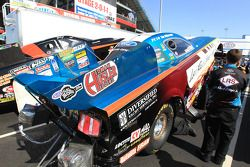 Tim Wikersons' Levi Ray & Shoup Ford Mustang in the staging lanes