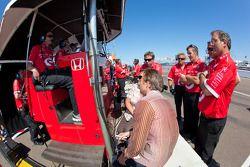 Target Chip Ganassi Racing team members watch qualifying