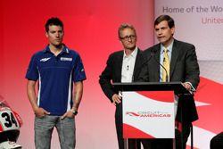 Ben Spies, Kevin Schwantz et Tavo Hellmund assistent à la conférence de presse annonçant le contrat de 10 ans qui fera venir le MototGP sur le nouveau Circuit of the Americas dès 2013