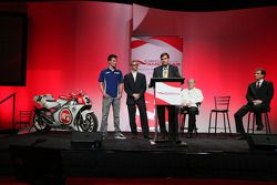 Press conference announcing a 10-year contract to bring MotoGP to the new Circuit of the Americas beginning in 2013: Ben Spies, Kevin Schwantz and Tavo Hellmund