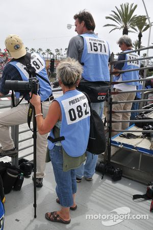 Baseball superstar turned photographer Randy Johnson shoots the opening laps in the photo tower atop