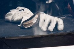 Carl Edwards' gloves sit in his car
