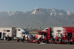 PKV Racing team with Mount Baldy in the background