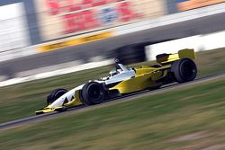Justin Wilson on the straight of the infield road course