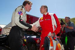 Race winner #55 Boardwalk Ferrari/Level 5 Ferrari 458 Challenge: Scott Tucker has a post-race discussion with #77 Ferrari of Silicon Valley Ferrari 458 Challenge: Harry Cheung