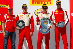 458 podium: race winner Scott Tucker, second place Enzo Potolicchio, third place Cooper MacNeil with Marc Gene