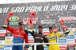 Podium: winner Will Power, Team Penske, second place Graham Rahal, Chip Ganassi Racing, third place Ryan Briscoe, Team Penske