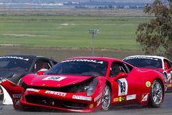 Start: #9 Ferrari of Beverly Hills Ferrari 458 Challenge: Jay Lee na crash
