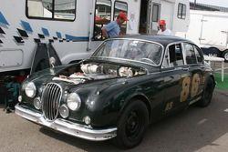 A vintage Jaguar race car