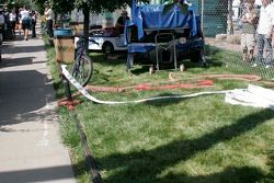 Temporary water lines are run for the race