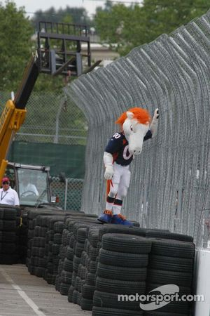 The Denver Broncos mascot scales the fence at turn 1
