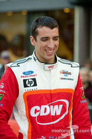 Justin Wilson before the pit stop competition on Pine Street