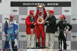 Podium: race winner Sébastien Bourdais with Paul Tracy and Nelson Philippe, and team owners Carl Haa