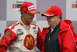 Podium: race winner Sébastien Bourdais with Carl Haas