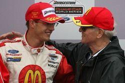 Podium : le vainqueur Sébastien Bourdais avec Paul Newman