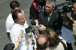 Champ Car President Steve Johnson talks to the media
