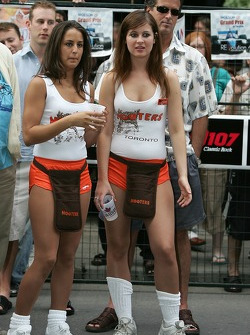 John Street party: Hooters hostesses watch the action