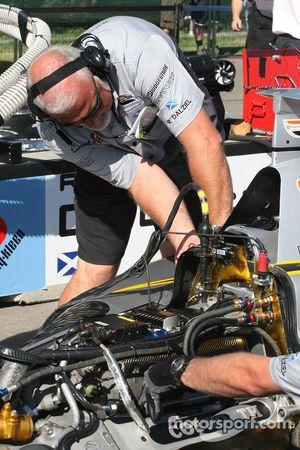 Pacific Coast Motorsports crew member at work
