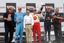 Podium: Mike Lanigan, race winner Sébastien Bourdais, Carl Haas, second place Graham Rahal, third pl