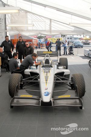 Pacific Coast Motorsports team works on Ryan Dalziel's car