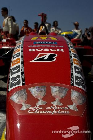 Championship decals on the car of Sébastien Bourdais
