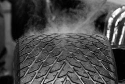 Steam on a rain tire