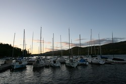 Boats and sunset on Lac Mont-Tremblant