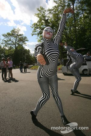 Acrobats entertain the fans