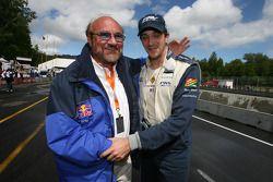 Pole winner Tristan Gommendy celebrates with team owner Kevin Kalkhoven