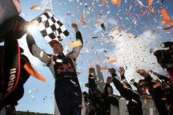 Race winner Robert Doornbos celebrates