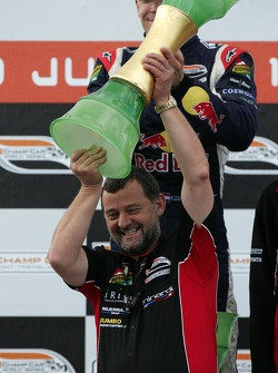 Podium: winning team owner Paul Stoddart
