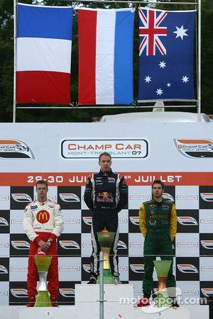 Podium: race winner Robert Doornbos with Sébastien Bourdais and Will Power