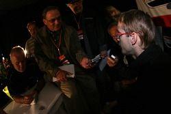 Sébastien Bourdais talks with the media