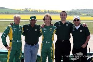 Heikki Kovalainen, Team Lotus, Tony Fernandes, Team Lotus, Team Principal, Jarno Trulli, Team Lotus, Ansar Ali, Caterham Cars