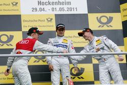 Race winner Bruno Spengler, Team HWA AMG Mercedes, second place Mattias Ekström, Audi Sport Team Abt Sportsline Audi A4 DTM, third place Ralf Schumacher, Team HWA AMG Mercedes