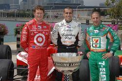 IndyCar Series 2007 Championship contenders Scott Dixon, Dario Franchitti and Tony Kanaan pose with